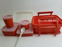 VINTAGE TUPPERWARE RED LUNCH BOX SET 12 PIECES HANDLE SANDWICH SNACK (8/31)