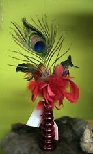 "NWT Floral Decor, Red Glass Vase, Peacock Feather, Red & Purple Feathers 15.50""T"