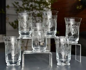 Set of 6 Etched Pall Mall Tumblers - Swags - VGC (11.1cm / 200ml)