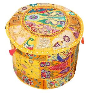 Indian Foot Stool Pouf Cover Yellow Cotton Patchwork Embroidered Round 18 Inch