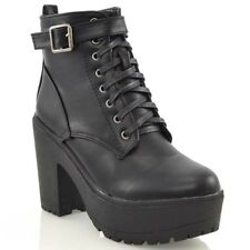 59ef67aa032e Ladies Chunky Cleated Platform Sole Womens Retro Goth Combat Lace up Ankle  BOOTS Black Synthetic Leather