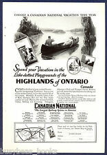 1927 CANADIAN NATIONAL Railways advertisement, Northern Ontario, canoe