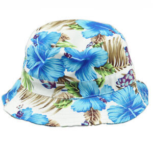 Tropical Hawaiian Flower Pattern Beach Fitted Small Medium Sun Bucket Hat White