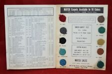 Vintage 1962 Matco Sales Automotive Carpet Price List Sample Guide Buick Ford GM
