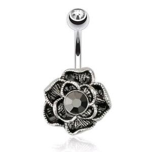 Vintage Hematite Flower Belly Ring Black CZ Gem Pierced Navel Rose 14g (w509)