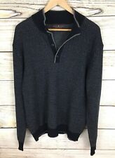 Robert Talbott Men's 1/4 Button 100% Merino Wool Navy & Gray Sweater Size XL