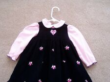 TWO PC. JUMPER DRESS WITH BLOUSE, BLACK  CORDUROY W/PINK FLOWER, PINK BLOUSE SZ3