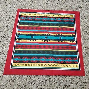 Vintage Hav-a-Hank Southwest Aztec Theme Bandana Red Made in USA