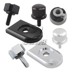Black Chrome Rear Fender Aluminium Seat Screw Bolt Nut Knob Tab Cover For Harley