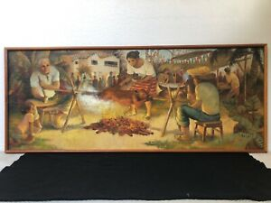 🔥 FANTASTIC Antique Mid Century Modern Cuban Muralismo Latin Oil Painting