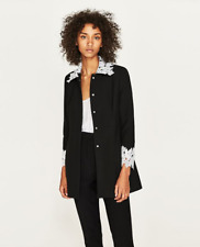 NWT | ZARA LACE-TRIMMED GUIPURE FROCK COAT Black White Womens Medium