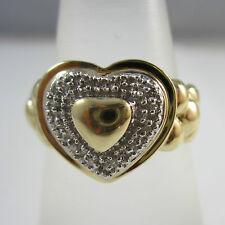 Modischer Ring aus Gold 585 Herz mit Diamanten