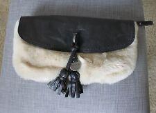 Juicy Couture Black Leather Nude Cream Fur Clutch Fringe Wristlet