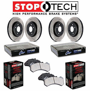 For Ford Fusion Front & Rear StopTech Slotted Brake Rotors Sport Pads Kit
