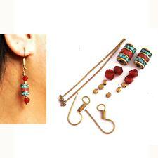 Coral Turquoise Brass Earring Kit Nepalese Tibetan Handmade Nepal DIYA17