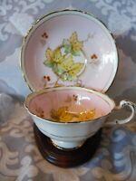Vintage Paragon Pastel Pink & Maple? Leaf Teacup & Saucer