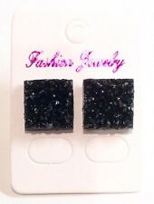 Small Black Sparkly Square Crystal Diamante Rhinestone Stud Earrings
