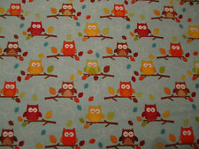 Owl fabric design on blue - Riley Blake's 100% cotton - per Fat Quarter