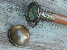 Nautical Brass Vintage Compass Walking Stick Hidden Solid Brass Working Gift