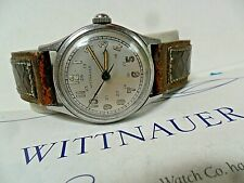 24 Hour Military Dial Vintage 1940's Men's Wittnauer 15J Military Swiss Watch