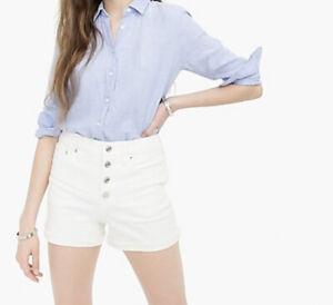 J Crew Women's White High-rise denim short button fly H6973 Size 26 $79
