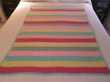 RAINBOW Striped Pastel Hand Crocheted Afghan Throw  Blanket  40 by 54""