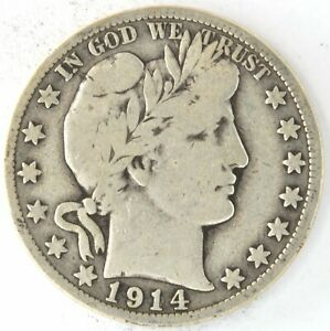 1914 S Barber Half Dollar 50 Cent 90% Silver US Coin San Francisco United States