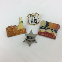 Vintage New Mexico Souvenir Pins Travel Set of 4 Route 66 Hot Air Baloons Star