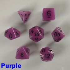 Glow In The Dark Poly 7 Dice RPG Set Purple Pathfinder D&D DND Dungeons Dragons