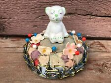 Antique Porcelain Top DOG Figural Pin Cushion w Applied Flowers CUTE