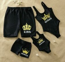 Family Swimsuit Simple Letter Printed King Prince Swimsuit New Matching Swimwear