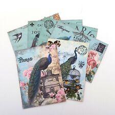 NEW Sale-Paris- Bicycle- Retro Note Bird Cards- Peacock-Vintage Variety of 6