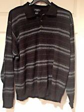 Men's DOCKERS Sweater POLO 3 BUTTON Black Gray Striped LS SZ XXL ACRYLIC