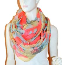 Soft Floral Light Weight X-large Infinity Scarf Loop Cowl-Red