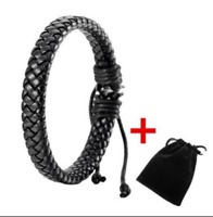 Black Braided Leather Bracelet for Men Women Cuff Wrap Wristband Bangle + Bag