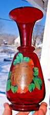 Nice Ruby Red Flashed Vase W/Painted Flowers Pontil 1890'S Decorative L@K