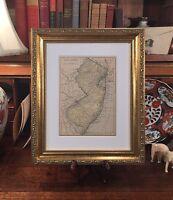 Framed Original 1908 Antique Map NEW JERSEY Newark Dover Elizabeth Atlantic City