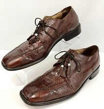 Stacy Adams Men's Size 11 1/2 M Oxfords Brown Leather & Genuine Snakeskin Shoes