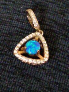 Brilliant Black Opal, White Sapphire Pendant, Rose Gold over Sterling