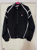Fila Black Sweatshirt Size Large Mens Full Zip Long Sleeve (H699)