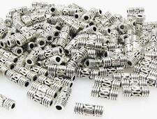 200x Metallperlen 3x8mm Spacer Tubes Röhrchen altsilber Metall Perlen silber neu