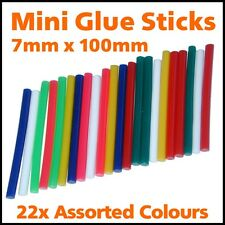 22 x Coloured Hot Melt Mini Glue Sticks for 7mm 7.2mm 8mm Gun Craft Adhesive