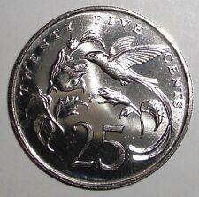 1987 Jamaica 25 cents, Hummingbird, animal wildlife coin, UNC.