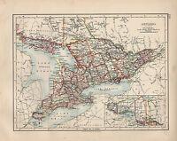 1897 VICTORIAN MAP ~ DOMINION OF CANADA ONTARIO