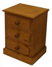 UK Hand Made Solid Pine Bedroom 3 Drawer Bedside Cabinet (Medium)