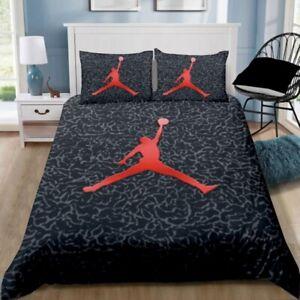 NEW Black Jordan Quilt Cover Set Pillowcase Single Double Queen Size Bedding