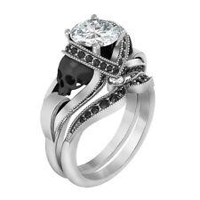 1.45 Ct 2-Skull Halloween Engagement Bridal Ring Set 14k Solid White Gold