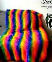 Faux Fur Throw Blanket Gift Rainbow Pride Gay Long Pile RRP £150 CLEARANCE Vegan