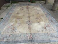 Vintage Hand Made Art Deco Chinese Oriental Silk Blue Large Carpet 356x268cm