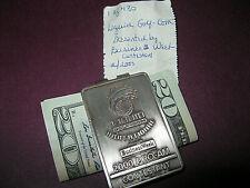 """""""LIQUID GOLF.COM INVIT MONEY CLIP"""" ANTQ SILVER FINISH! NEW, NEVER USED 1 OF 480"""
